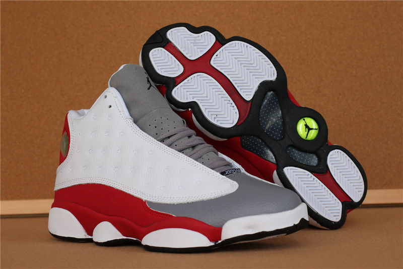 Jordans 13 High White Grey Red Retro Sneaker